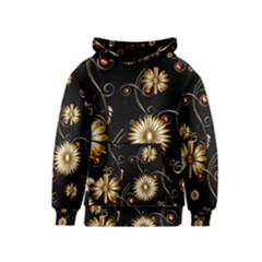 Golden Flowers On Black Background Kid s Pullover Hoodies