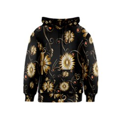 Golden Flowers On Black Background Kids Zipper Hoodies