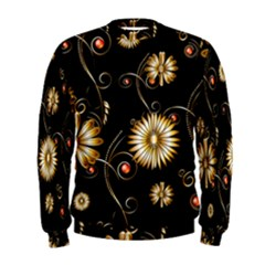 Golden Flowers On Black Background Men s Sweatshirts