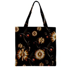 Golden Flowers On Black Background Zipper Grocery Tote Bags
