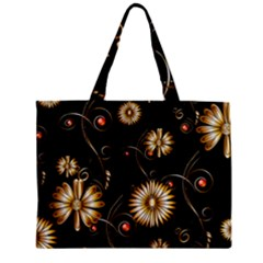 Golden Flowers On Black Background Zipper Tiny Tote Bags