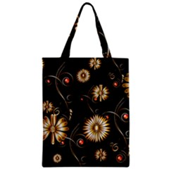 Golden Flowers On Black Background Zipper Classic Tote Bags