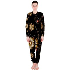 Golden Flowers On Black Background OnePiece Jumpsuit (Ladies)