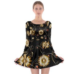 Golden Flowers On Black Background Long Sleeve Skater Dress