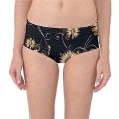 Golden Flowers On Black Background Mid Waist Bikini Bottoms