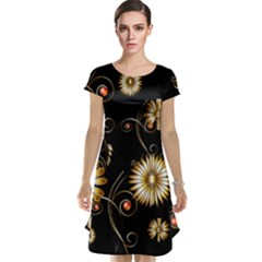 Golden Flowers On Black Background Cap Sleeve Nightdresses