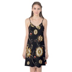 Golden Flowers On Black Background Camis Nightgown