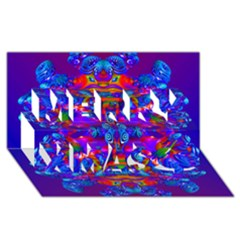 Abstract 4 Merry Xmas 3d Greeting Card (8x4)