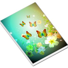 Flowers With Wonderful Butterflies Large Memo Pads