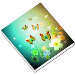 Flowers With Wonderful Butterflies Small Memo Pads