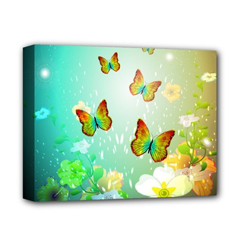 Flowers With Wonderful Butterflies Deluxe Canvas 14  x 11