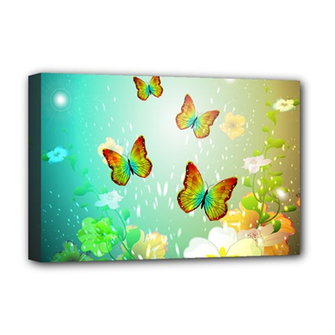 Flowers With Wonderful Butterflies Deluxe Canvas 18  x 12
