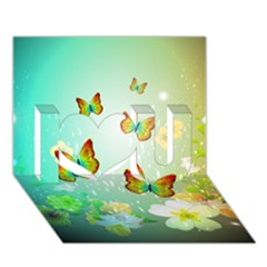 Flowers With Wonderful Butterflies I Love You 3D Greeting Card (7x5)