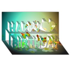 Flowers With Wonderful Butterflies Happy Birthday 3d Greeting Card (8x4)