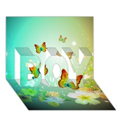 Flowers With Wonderful Butterflies Boy 3d Greeting Card (7x5)