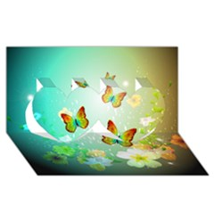 Flowers With Wonderful Butterflies Twin Hearts 3D Greeting Card (8x4)