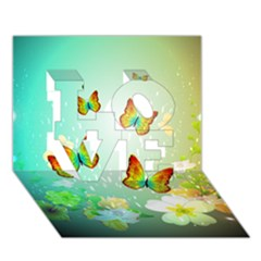 Flowers With Wonderful Butterflies LOVE 3D Greeting Card (7x5)