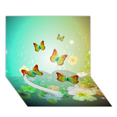 Flowers With Wonderful Butterflies Heart Bottom 3D Greeting Card (7x5)