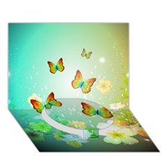 Flowers With Wonderful Butterflies Circle Bottom 3D Greeting Card (7x5)