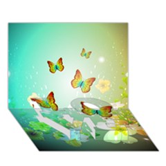 Flowers With Wonderful Butterflies LOVE Bottom 3D Greeting Card (7x5)