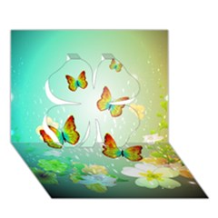 Flowers With Wonderful Butterflies Clover 3d Greeting Card (7x5)