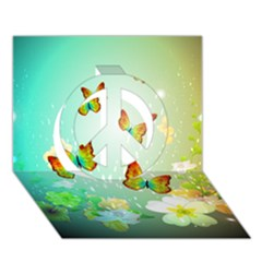 Flowers With Wonderful Butterflies Peace Sign 3D Greeting Card (7x5)