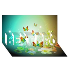 Flowers With Wonderful Butterflies BEST BRO 3D Greeting Card (8x4)