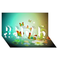 Flowers With Wonderful Butterflies #1 DAD 3D Greeting Card (8x4)