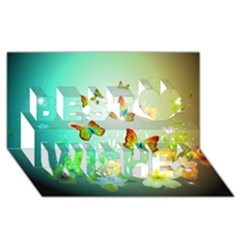 Flowers With Wonderful Butterflies Best Wish 3d Greeting Card (8x4)