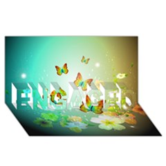 Flowers With Wonderful Butterflies ENGAGED 3D Greeting Card (8x4)