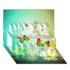 Flowers With Wonderful Butterflies Work Hard 3d Greeting Card (7x5)