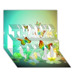 Flowers With Wonderful Butterflies THANK YOU 3D Greeting Card (7x5)