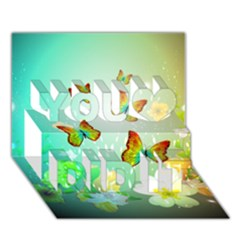 Flowers With Wonderful Butterflies You Did It 3d Greeting Card (7x5)