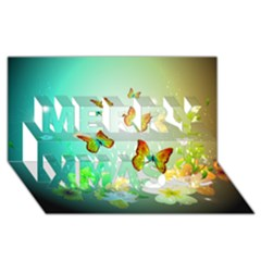 Flowers With Wonderful Butterflies Merry Xmas 3d Greeting Card (8x4)