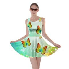 Flowers With Wonderful Butterflies Skater Dresses
