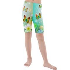 Flowers With Wonderful Butterflies Kid s swimwear