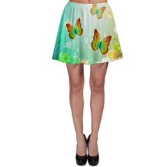 Flowers With Wonderful Butterflies Skater Skirts