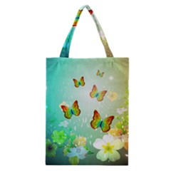 Flowers With Wonderful Butterflies Classic Tote Bags