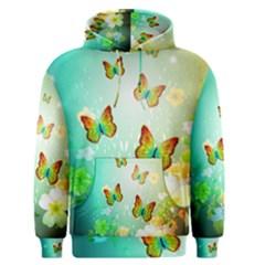 Flowers With Wonderful Butterflies Men s Pullover Hoodies