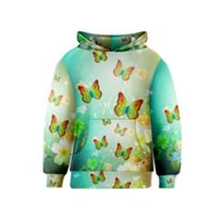 Flowers With Wonderful Butterflies Kid s Pullover Hoodies