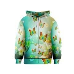 Flowers With Wonderful Butterflies Kids Zipper Hoodies