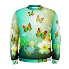 Flowers With Wonderful Butterflies Men s Sweatshirts