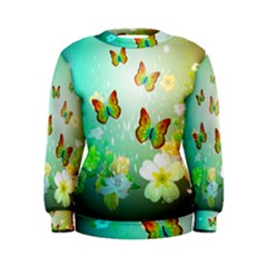 Flowers With Wonderful Butterflies Women s Sweatshirts
