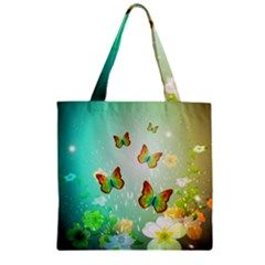 Flowers With Wonderful Butterflies Zipper Grocery Tote Bags