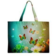 Flowers With Wonderful Butterflies Zipper Tiny Tote Bags