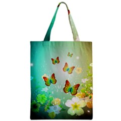Flowers With Wonderful Butterflies Zipper Classic Tote Bags