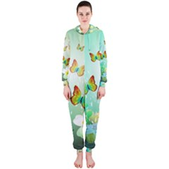 Flowers With Wonderful Butterflies Hooded Jumpsuit (Ladies)