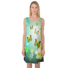 Flowers With Wonderful Butterflies Sleeveless Satin Nightdresses