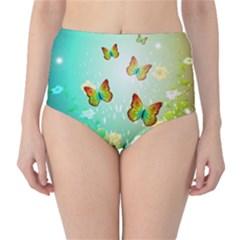 Flowers With Wonderful Butterflies High-Waist Bikini Bottoms