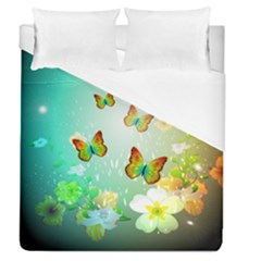 Flowers With Wonderful Butterflies Duvet Cover Single Side (full/queen Size)